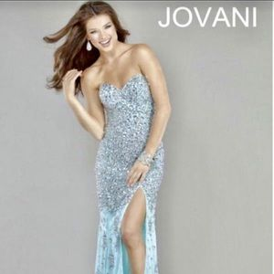 Jovani Long, Aqua Beaded Strapless Dress Size 8